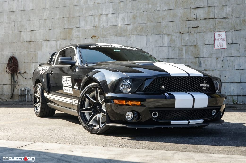 Shadow Black S197 Shelby GT500 with custom Project 6GR 7-SEVEN wheels