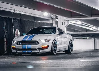 Avalanche Grey Shelby GT350 Built to perfection, Project 6GR 10-TEN wheels with Teal barrel
