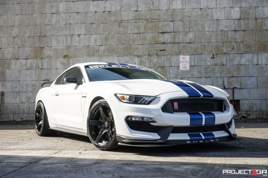 Ox Ford white Shelby GT350 completed with Project 6GR 5-FIVE wheels in the R-spec setup