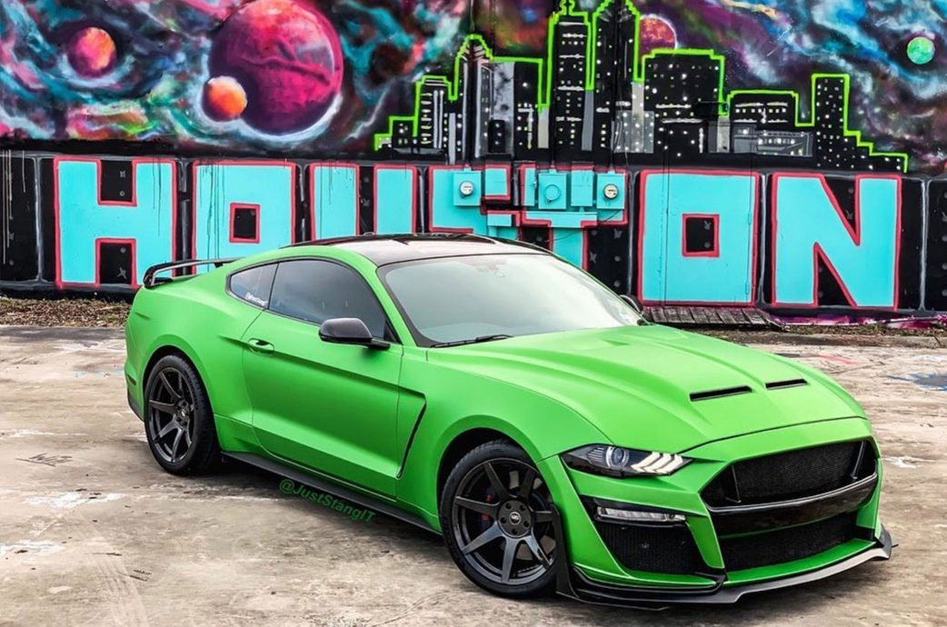 Mustang GT gets completed with a GT500 conversion kit and Project 6GR Hydro dip wheels