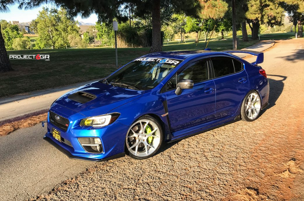 Subaru WRX STI equipped with Brushed Silver Full Forged Project 6GR wheels