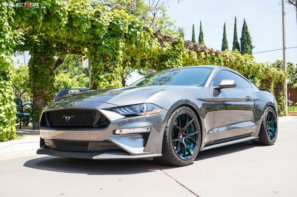 Magnetic Grey Mustang GT gets a new color combo sporting Project 6GR 10-TEN wheels in Gloss Black / Teal Barrel