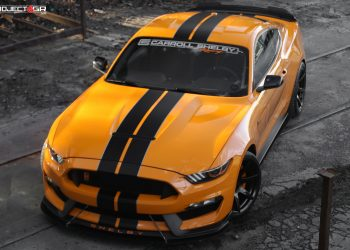 Project 6GR 7-SEVEN Gloss Black finish featuring a stunning Competition Orange Shelby GT350