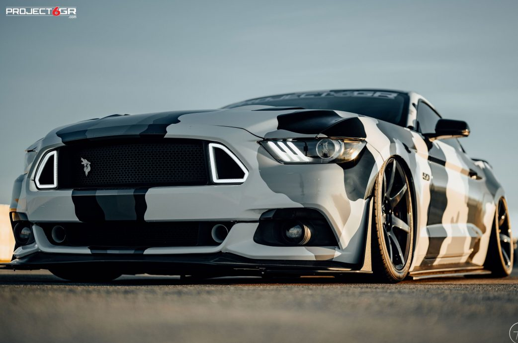 Camo wrapped Mustang GT gets a new color combo sporting Project 6GR 7-SEVEN wheels in a Custom finish!