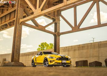 Triple Yellow Mustang Ecoboost gets a new color combo sporting Project 6GR 5-FIVE wheels in Gloss Black finish
